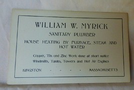 1916-17 Business Card William W. Myrick Sanitary Plumber Kingston MAss - $18.00
