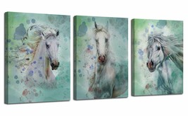 "Nice Wall Art Set 3 Pieces Horses 12""x16"" Colorful Rustic Shabby Chic Fa... - $59.00"
