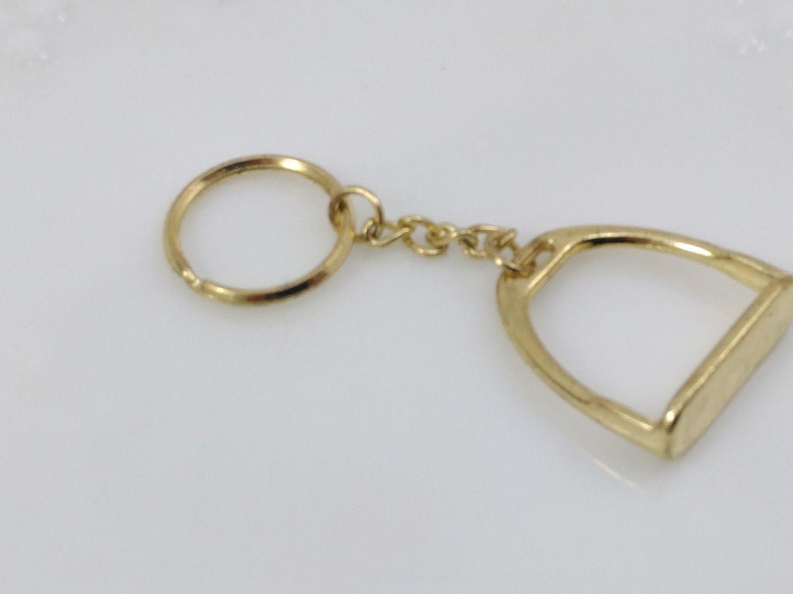 Zinc Alloy Stirrup Gold Tone Key Ring Horse Riding Equestrian Equipment