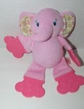 Bright Starts Pink yellow print ears elephant plush Teether rattle - $9.89