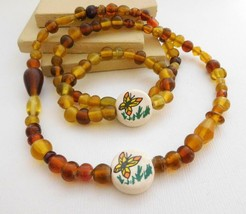 Vintage Amber Brown Honey Yellow Glass Butterfly Bead Necklace Bracelet ... - $18.69