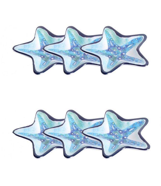 Starfish Shape Melamine Tidbit Dessert Plates Set of 6 Nautical Beach House NEW