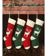 Women Christmas Knitted Socks Gift Bag Home Decoration Wool Elk Candy Bag - £9.22 GBP