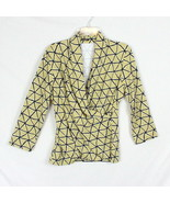 J McLaughlin Blouse L size Olive Green Yellow Wrap Top Womens Stretch Sh... - $26.72