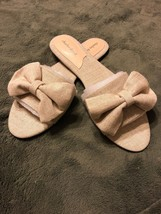 Charles David Womens Beige Slipper Canvas Linen Slide Sandal Sz 11 Shoes... - $98.99