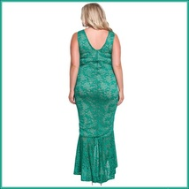Long Green Sleeveless Front Ruffled Floral Lace Trumpet Mermaid Party Gown image 3
