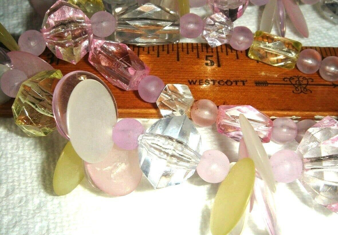 VTG CHA CHA CANDY LUCITE NECKLACE FLORAL CAMPHOR CZECH GLASS CHERUB EARRING LOT