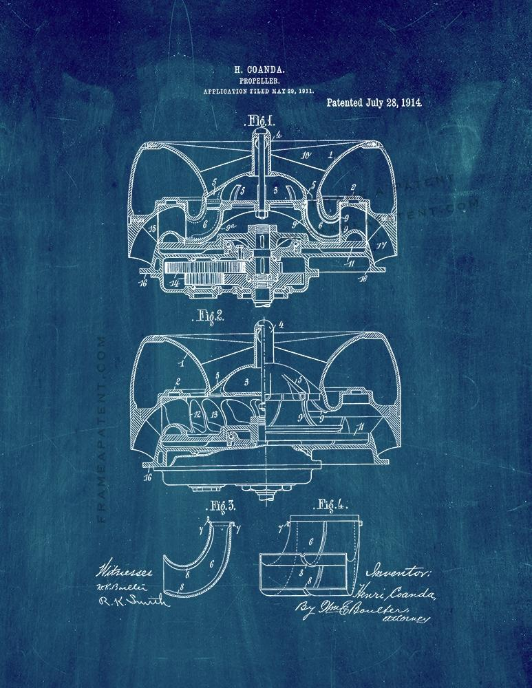 Primary image for Propeller Patent Print - Midnight Blue