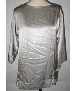 New Womens Designer Josie Natori Silk Blouse Top S NWT Silver Long Sleev... - $292.50