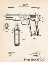 1911 Pistol Colt 45 Patent Print Automatic Gift Browning Revolver Artwor... - $16.98