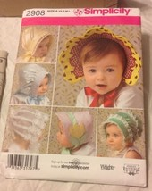 2008 Simplicity Sewing Pattern 2908 Babies' & Toddlers Hats Xs,s,m,l,uncut - $5.45