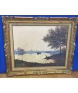 Vintage Oil Painting Dreamy Morning Potomac River Washington DC Landscap... - $809.99