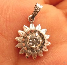 Sweet Vintage Sterling Silver Rhinestone Flower Pendant 4 Chain Necklace*F392 - $19.79