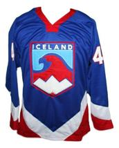 Any Name Number Iceland New Men Sewn Hockey Jersey Blue Any Size image 1