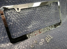 Licensed Nissan Engraved Chrome Metal License Plate Frame w/ Logo Screw ... - $29.69
