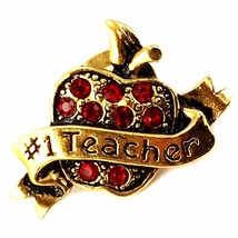 #1 Teacher Vintage Avon Brooch Pin Apple Red Rhinestone Gold Tone p507 - $13.19