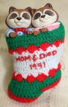 Vintage 1991 Hallmark Keepsake Mom Dad Racoon Stocking Christmas Tree Or... - $15.82