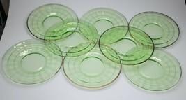 "Vintage Green Vaseline Anchor Hocking Block Optic 6.25"" Plates Set of 8 - $72.99"