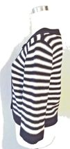 Croft & Barrow Women's Striped Cardigan Petite Sweater Blue White Knit Ribbed image 4