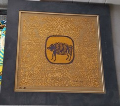 Asian Silk Art - Pig or Hog - Matted - VGC - Signed & Dated 1995 - INTER... - $9.89