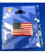 2002 Winter Olympics Salt Lake City Pin US Flag With Logo Unopened Package  - $22.00