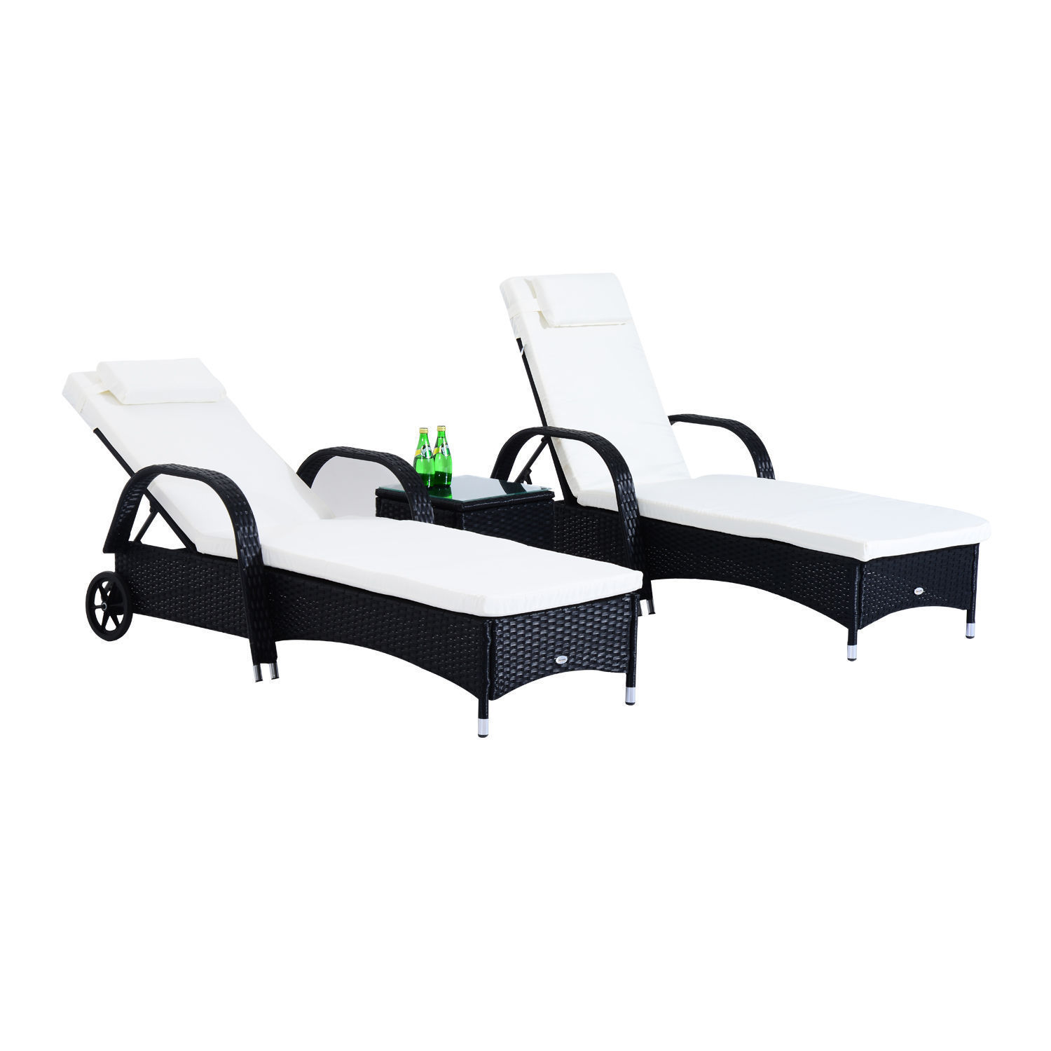 Outdoor 3pc Rattan Sun Lounger Adjustable Recliner Pool Deck Day Bed Table Black image 1