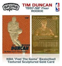 Tim Duncan 1997-98 Fleer 23KT or Édition Limitée Carte Rookie! 5X NBA Ch... - $14.70