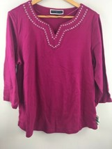 Karen Scott Top 0X Purple V Neck Studded 3/4 Sleeve Blouse Shirt Cotton ... - $13.13