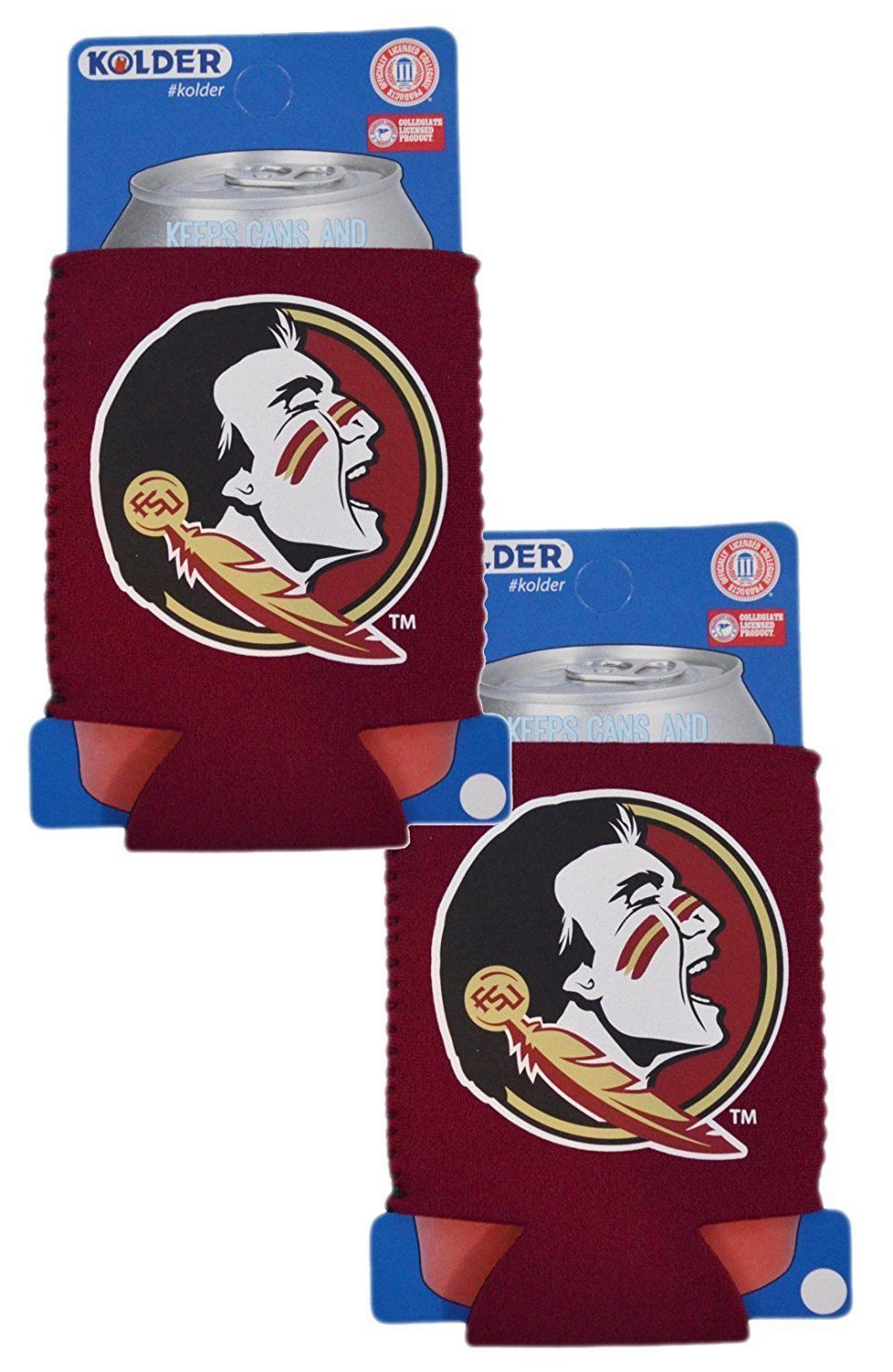 2 FLORIDA STATE SEMINOLES BEER SODA WATER CAN BOTTLE KOOZIE KADDY HOLDER NCAA