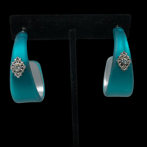 Avon Teal Frosted Oval Embellished Pierced Hoop Earrings NIB - $12.82