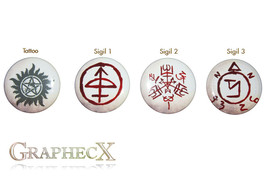 Fan-made Supernatural cosplay inspired personalized buttons - $9.00
