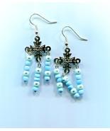 cross blue bead chandelier earrings drops cross charms handmade jewelry - $2.99