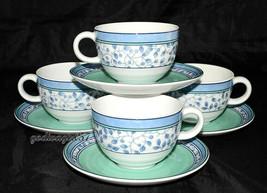 Mikasa Susanne * 4 Sets Cups & Saucers * Blue & Green, Excellent! - $15.99