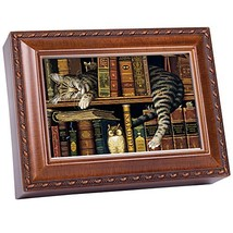 Cat Sleeping in Library Wooden Music Box That's What Friends are for MB249 - $37.23