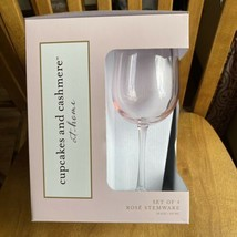 Cupcakes & Cashmere Home Rosé Pink Tall Stemmed Wine Glasses Set of 4 NIB - $29.70