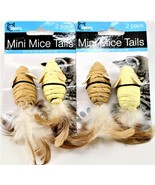 Cat Toys Mini Mouse Small Mice With Feathers Made Out Of String 2 Packs ... - $8.90