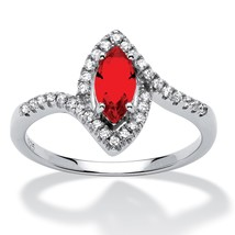 Birthstone and CZ .925 Silver Halo Ring-July-Simulated Ruby - $17.67