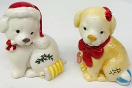 Spode Christmas Tree Puppy Salt & Pepper Set 2017 Holiday Candy Cane Pre... - $39.59