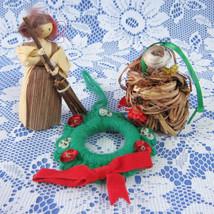 3 Christmas Ornament Ornaments Hand Made 1970s Bird Nest Cornhusk Girl Wreath - $24.00
