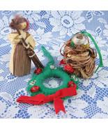 3 Christmas Ornament Ornaments Hand Made 1970s Bird Nest Cornhusk Girl W... - $24.00