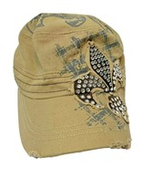 Leader Womens Distressed Cotton Fitted Ball Cap Tan with Rhinestones - $14.58