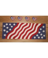 5 Pc Patriotic Flag 4th Of July Beaded Table Runner Coasters NWT FREE SH... - $89.09