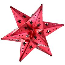 """Small Red 6.5"""" Hanging Tin Mexican Moravian Star Ornament Decoration Jalisco image 3"""