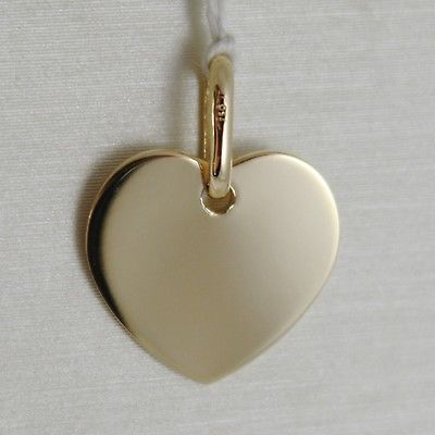 18K YELLOW GOLD MINI HEART CHARM PENDANT ENGRAVABLE FLAT SMOOTH MADE IN ITALY
