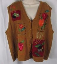 Women fall harvest thanksgiving sweater vest acorns fruit beaded accents... - $9.99