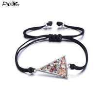 (triangel silver B) PiPitree Rope Braided Geometric Charm Bracelet Femme... - $20.00