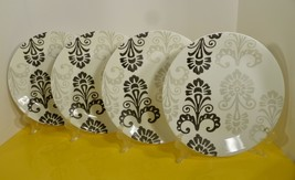 Corelle MARISSA Dinner Plate (s) LOT OF 4 Floral Scrolls on White Made in USA - $29.65