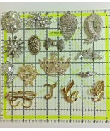 Lot of 16 Rhinestone Brooch Silver Gold Tone Crystal Costume Jewelry - $29.69