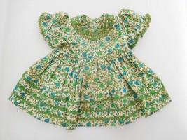 Vintage Dress Green/Blue for Wide Waist Medium Size Doll - $10.00