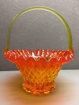 Vintage Fenton? Ruffle Top Pressed Glass Orange Basket - $24.74